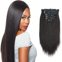 Sassina Italian Light Yaki Straight Clip in Extensions Real Remy Human Hair Double Wefts 8A Grade For Fashion Black Women 120 Grams 7 Pieces With 17 Clips, YS 12 Inch