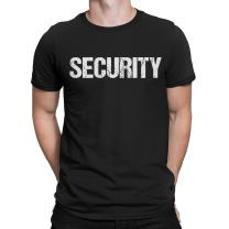 NYC FACTORY Men's Security Tee Black & White Screen Printed Both Sides Soft Cotton