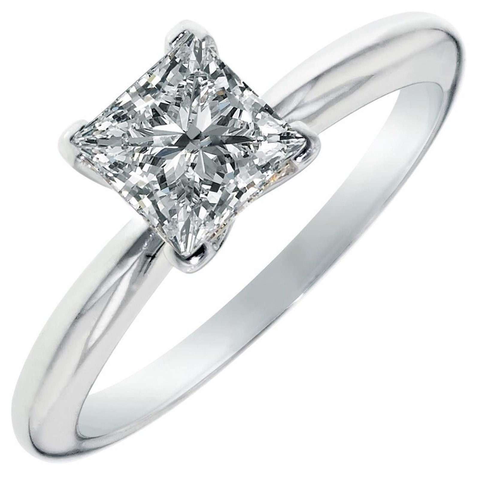 2.0 ct Brilliant Princess Cut Solitaire Highest Quality Lab Created White Sapphire Ideal VVS1 D 4-Prong Engagement Wedding Bridal Promise Anniversary Ring Solid Real 14k White Gold for Women