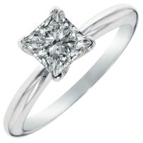 1.45ct Brilliant Princess Cut Solitaire Highest Quality Moissanite Ideal D 4-Prong Statement Ring in Solid Real 14k White Gold for Women