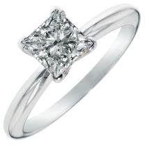 1.0ct Princess Cut CZ Solitaire Engagement Wedding Ring 14k White Gold