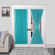 DWCN French Door Curtains – Rod Pocket Thermal Blackout Curtain for Doors with Glass Window, Kitchen and Patio Doors for Privacy, 54 X 72 Inches Long, 2 Curtain Panels with Tieback, Turquoise