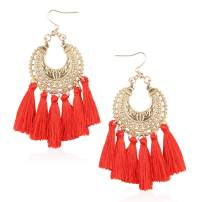 Statement Tassel Bohemian Earrings Handmade Fringe Drop Dangle Earring for Women Gift for Mother Sister Daily Party with Gift Box