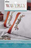 Bucilla Stamped Embroidery Pillowcases Kit, 2 pc, Charleston Chirp