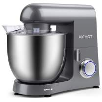 KICHOT Stand Mixer, 800W Powerful Metal Housing 10.6 Qt Electric Tilt Head Food Mixer, Kitchen Mixer with Dough Hook, Flat Beater, Wire Whisk and Splash Guard (Grey)