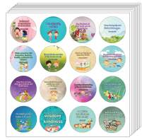 NewEights Kindness Bible Verses Stickers for Kids (10 Sheet) - Total 160 pcs (10 x 16pcs) Individual Small Size 1.5 x 1.5 Inches, Assorted Mega Pack of Inspirational Stickers About Kindness