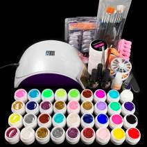 24W LED Lamp and 36 Colors UV Gel Nail Polish Nail Art Tools Set Building Kit