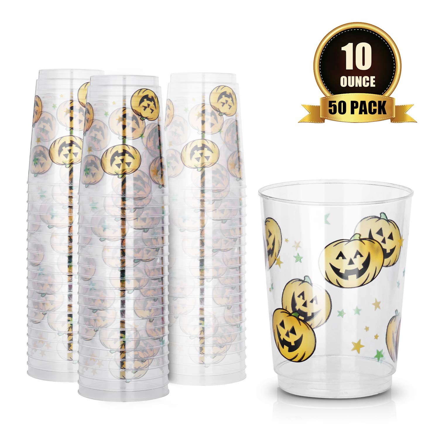 TOROTON 10oz Disposable Cups, 50 Pack Reusable & Recyclable Clear Plastic Wine Glasses for Halloween Christmas Party - Pumpkin Printing