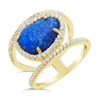 Sterling Forever - Gold Vermeil Created Dark Blue Opal in Prong Set & CZ Halo Oval Ring