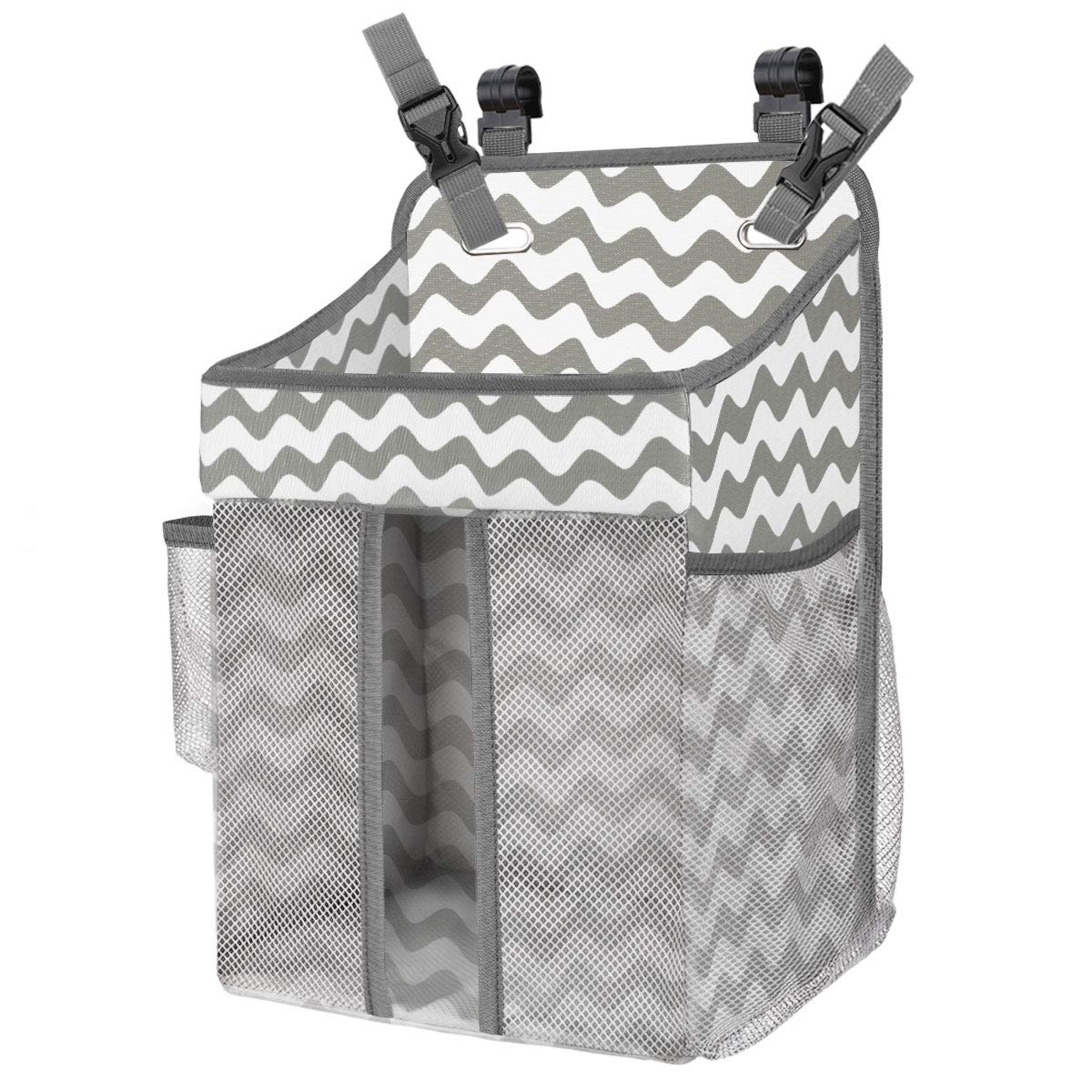 Zooawa Hanging Crib Organizer, Large Capacity Hanging Diaper Caddy Nursery Bag Crib Diaper Organizer for Diapers Wipes Baby Essentials Storage - Gray & White Stripe