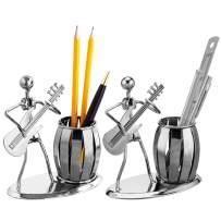 Decorative Desktop Gunmetal Gray Metal Guitar Rocker Design Pen/Pencil Holder, Set of 2