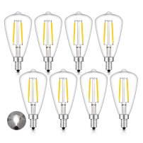 CRLight 2W LED Candelabra Bulb 5000K Daylight White 30 watt Equivalent 300 Lumens, E12 Base Antique Edison Style ST48 / ST14 Clear Glass Dimmable LED Filament Light Bulbs, Pack of 8