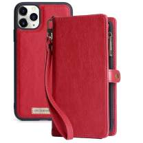 KelaSip iPhone 11 Pro Wallet Case, Leather Wallet Phone Case & Card Holder Buckle Magnetic Detachable,Red,for iPhone 11 Pro