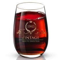 1943 77th Customized 24K Gold hand crafted luxury drinking and wine glass for wedding,anniversary,birthday,holidays and any noteworthy occasions,it's perfect gifts ideal for bridesmaids,wife and son