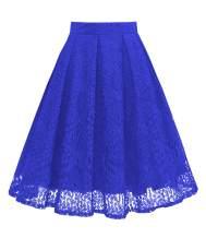 Girstunm Women High Waist Pleated A-Line Knee Length Lace Pockets Skirt
