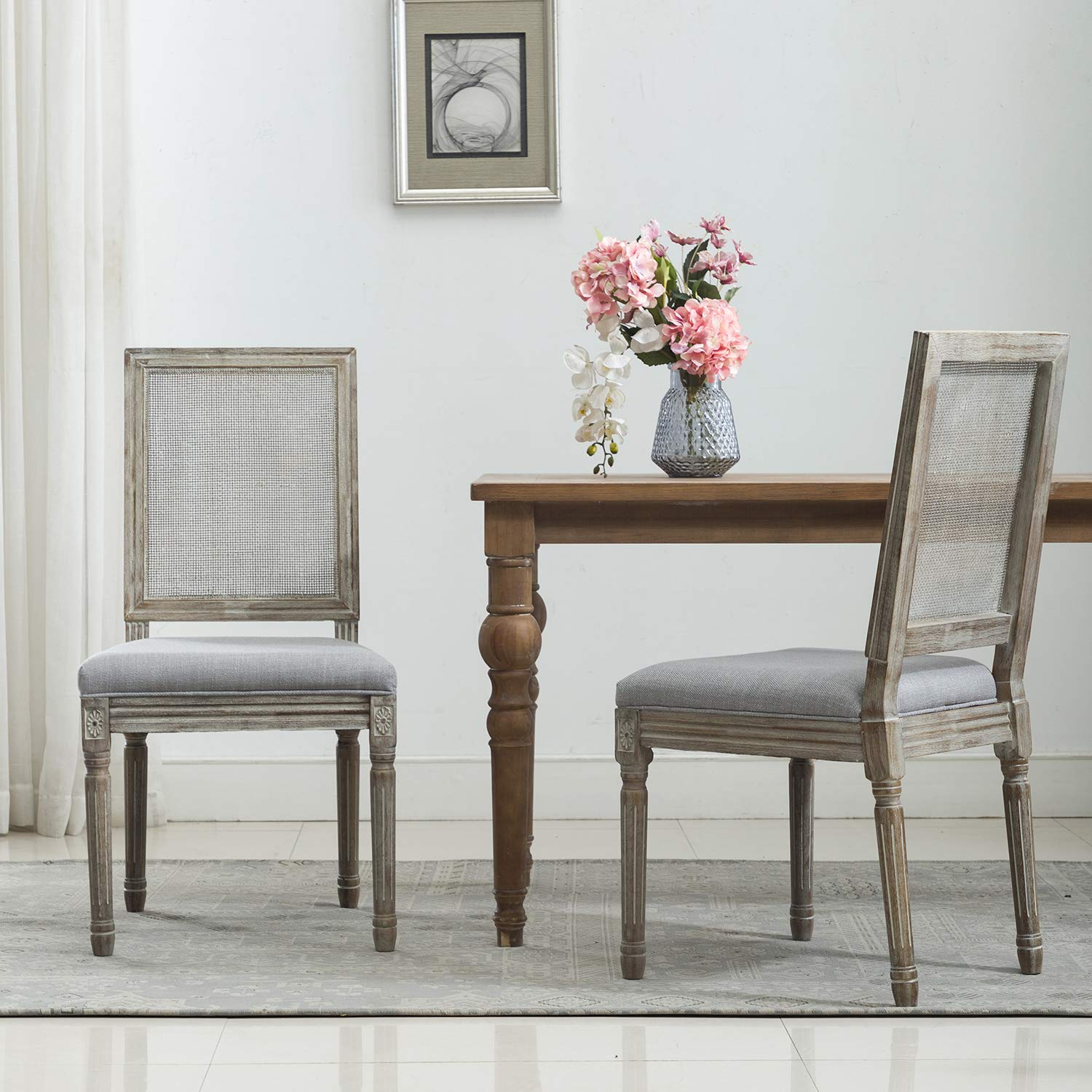 chairus French Dining Chairs, Distressed Elegant Tufted Kitchen Chairs with Rectangle Fine Rattan Back - Set of 2 - Beige Gray