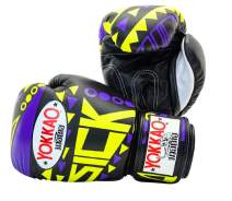 YOKKAO Sick Muay Thai Boxing Gloves Breathable Leather - Blue/Green, Violet/Yellow, Orange/Pink