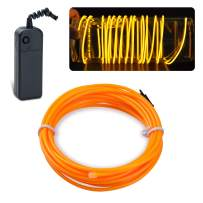 lychee EL Wire Neon Glowing Strobing Electroluminescent Light El Wire w/Battery Pack for Parties, Halloween Decoration (Yellow, 15ft)
