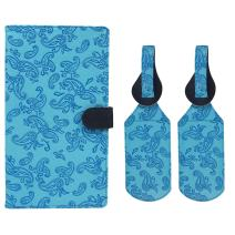 JAVOedge Blue Embossed Paisley Long RFID Blocking Snap Closure Passport Case with Pen Holder and 2 Matching Luggage Tags