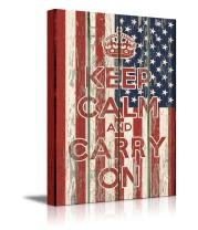 """wall26 - Canvas Prints Wall Art - Keep Calm and Carry On Quote on Vintage Wood Board Style USA Flag - 36"""" x 24"""""""