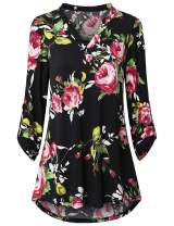 UXELY Women's Zip Front Floral Printed 3/4 Sleeve V Neck Tunic Casual Shirt