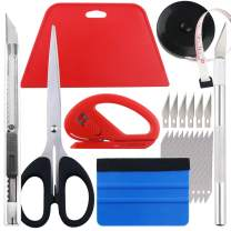 Wallpaper Smoothing Tool kit, Scraper, Carving Knife (6 blades), Artistic Knife (10 blades), Small scissors, Black tape, Cutter, Multifunctional Smoothing Tool for Cutting and Peeling Smooth Wallpaper