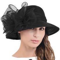 Ascot Kentucky Derby Bowler Church Cloche Hat Bowknot Organza Bridal Dress Cap S051