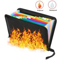 Folder Organizer Fireproof File Folder A4/Letter Size and Water Resistant with Silicone-Coated Heat Resistant Money Document Bag 12 Pockets Zipper Closure Expanding File Organizer Pouch (14.3' x9.8')