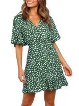 REORIA Women V Neck Bell Sleeve Floral Printed Button A Line T Shirt Skater Ruffles Mini Dress