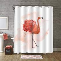 """MitoVilla Flamingo Shower Curtain Set with Hooks, Watercolor Tropical Wildlife Bird with Flower Bathroom Decor, Flamingo Gifts for Women, Baby Girls, Bird and Animal Lovers, Coral, 72"""" W x 72"""" L"""