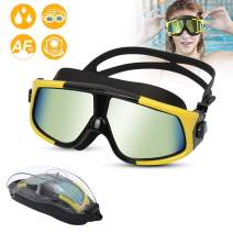 Large Frame Swim Goggles with Free Protection Case,Swimming Goggles Anti Fog No Leaking UV Protection Clear Vision,Triathlon Swim Goggles for Adults Men Women Youth,3 Color Choice