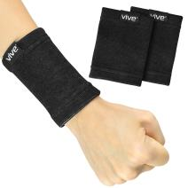 Vive Wrist Sweatbands (Pair) - Bamboo Charcoal Compression Wristband - Athletic Support for Carpal Tunnel Pain Relief, Arthritis, Tendonitis and Tennis (Black, Small/Medium)
