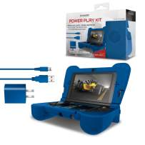 dreamGEAR DG3DSXL-2274 Power Play Kit Accessories: Compatible with Nintendo NEW 3DS XL, 3-In-1 Bundle, Soft Comfort Grip Case, Charging Cable, AC Adapter, Blue