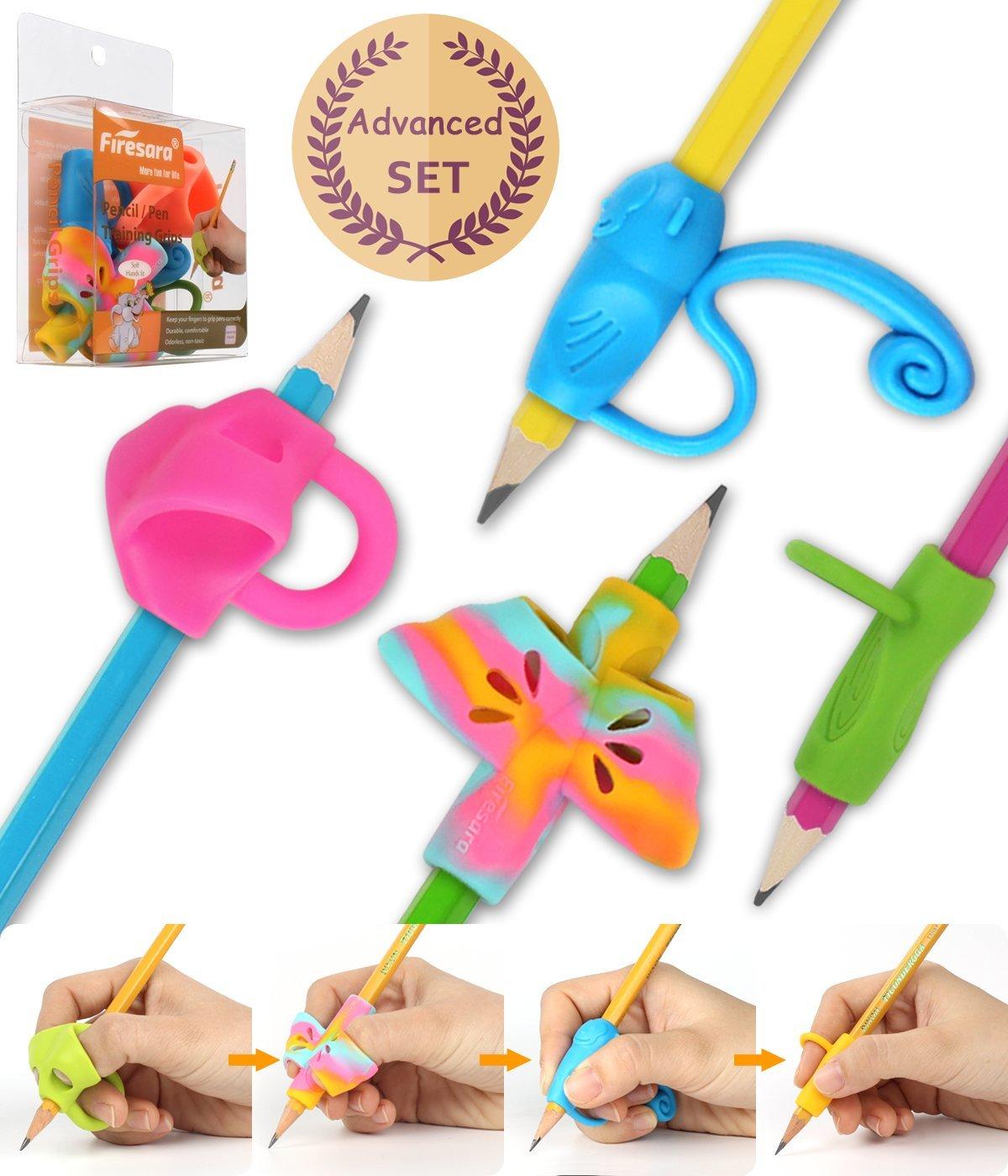 Firesara Advanced Pencil Grip Set, Original Ergonomic Handwriting AIDS Pencil Grips Writing Posture Corrector 4 Assorted Pencil Grips for Kids Children Adults Special Needs Rights