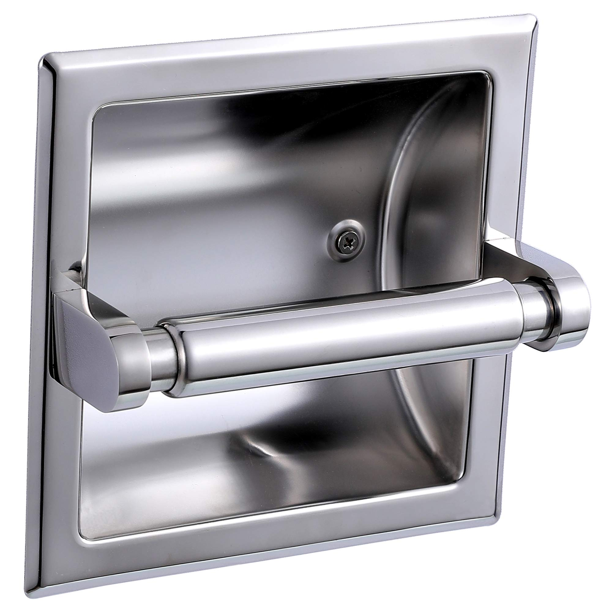 JiangPu Recessed Toilet Paper Holder Polished Chrome Tissue Paper Holder for Bathroom Wall Mount toilet dispenser holder All Stainless Steel Construction - Rear Mounting Bracket Included