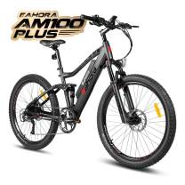 eAhora AM100 Plus 27.5 Inch Electric Mountain Bike Dual Hydraulic Brakes Full Air Suspension Electric Bicycle 48V 350W 10.4Ah Ebike Power Regeneration Tech 9 Speed Color Screen Red