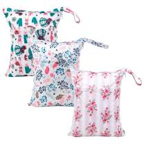 Babygoal Wet Dry Bags for Baby Cloth Diapers, Washable Travel Bags, Beach, Pool, Gym Bag for Swimsuits & Wet Clothes with Two Zippered Pockets 3 Pack 3LN07