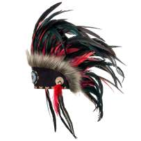 Novum Crafts Feather Headdress | Native American Indian Inspired | Red