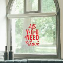 """Vinyl Wall Art Decal - All You Need is Love - 22"""" x 15"""" - Modern Inspirational Quote with Hearts for Home Storefront Coffee Shop Couples Valentine's Day Decor Sticker (Red)"""