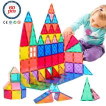 Magnetic Building Tiles Toys Kit - 3D Magnetic Blocks 60 Piece Set, Clear Magnet Building Blocks Construction Playboards, Creativity Educational Stacking Toys for Toddlers Kids Children