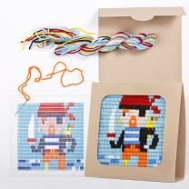 """Sozo - Colorful DIY Needlepoint Embroidery Craft Kit for Beginners. Eco Friendly Package That Turns into a Display Frame, Easier Than Cross Stitch. Size - 8"""" x 8"""" (Pirate)"""