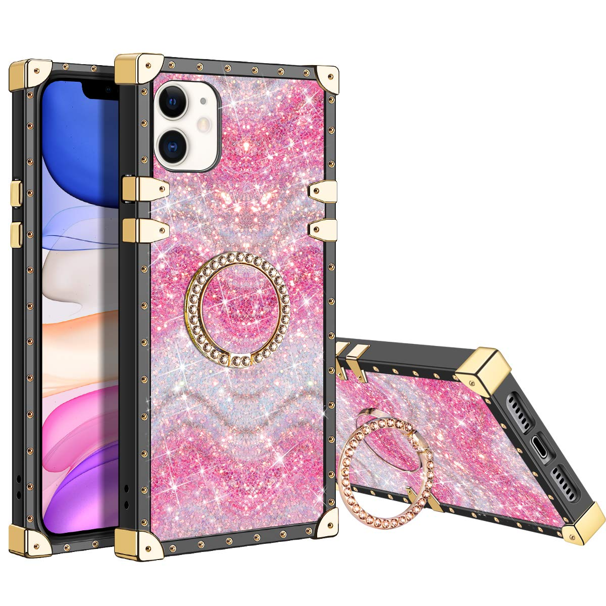 XNMOA for iPhone 11 Glitter Case for Women Girls Kickstand Ring Holder Rainbow Sparkle Bling Square Case Slim Durable Shockproof Bumper Hard Anti-Slip Back Protective for iPhone 11 6.1inch Pink