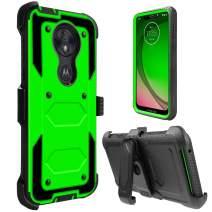lovpec Moto G7 Power Case, Moto G7 Supra Case, Moto G7 Optimo Maxx XT1955DL Case, Kickstand and Belt Clip Heavy Duty Shockproof Protective Phone Cover Case for Motorola Moto G7 Power (Green)
