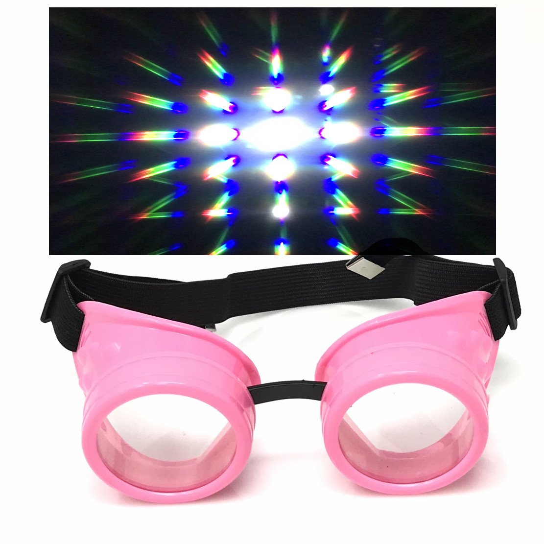 UV Glow in The Dark Steampunk Rave Goggles Prism Retro Round Diffraction Glasses Pink Frames