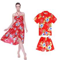 Matching Mother Son Hawaiian Luau Outfit Dress Shirt in Hibiscus Blue