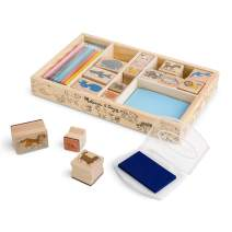 Melissa & Doug Wooden Stamp Set - Animals (16 Stamps, 7 Colored Pencils, Washable Ink Stamp Pad, Great Gift for Girls and Boys – Best for 4, 5, 6, 7 and 8 Year Olds)