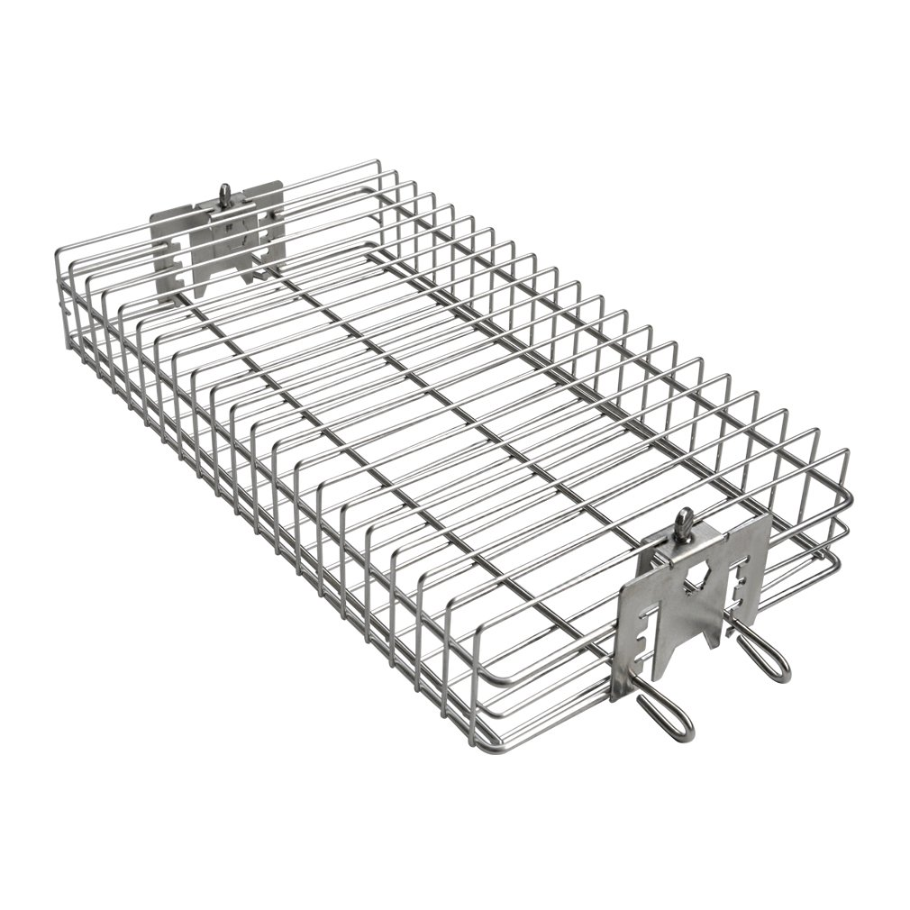 """only fire 6042 Chrome Plating Steel Flat Spit Rotisserie Grill Basket Fits 1/2"""" Hexagon, 3/8"""" Hexagon, 3/8"""" Square & 5/16"""" Square Spit Rods for Any Grill"""