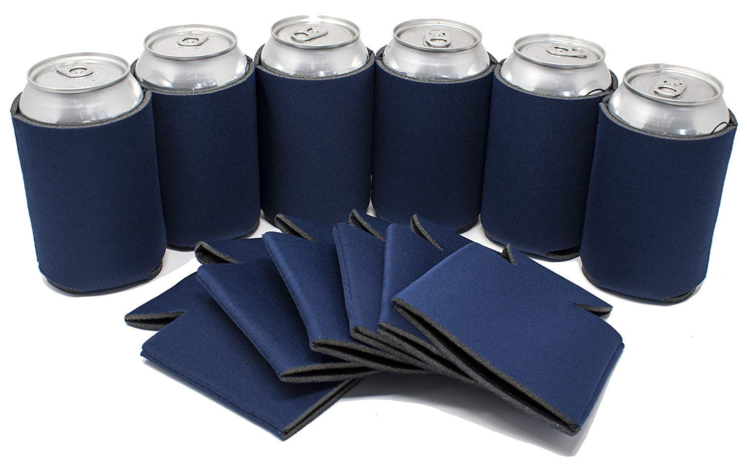 TahoeBay 12 Blank Beer Can Coolers, Plain Bulk Collapsible Soda Cover Coolies, DIY Personalized Sublimation Sleeves for Weddings, Bachelorette Parties, Funny HTV Party Favors (Navy Blue, 12)