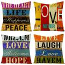 IcosaMro Throw Pillow Covers Set of 4 Vintage Colorful Art 18x18 Decorative Pillow Cases Square Zippered Cotton Linen Cushion Cover Room Sofa Decor, Multicolor