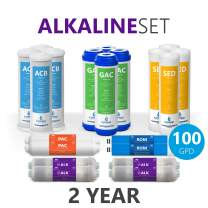 Express Water – 2 Year Alkaline Reverse Osmosis System Replacement Filter Set – 20 Filters with 100 GPD RO Membrane – 10 inch Size Water Filters